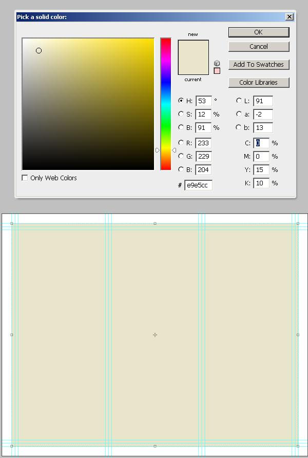 10- انتخاب رنگ پس زمینه -آموزش طراحی بروشور سه لتی در فتوشاپ مجله گیچ