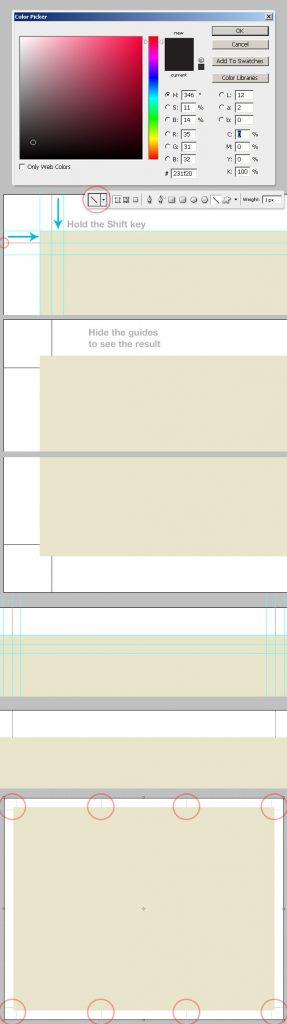 11- خط راهنمای برش پس از چاپ -آموزش طراحی بروشور سه لتی در فتوشاپ مجله گیچ