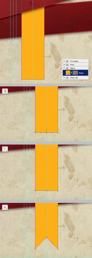 19- افزودن ربوان زرد - آموزش طراحی بروشور سه لتی در فتوشاپ مجله گیچ
