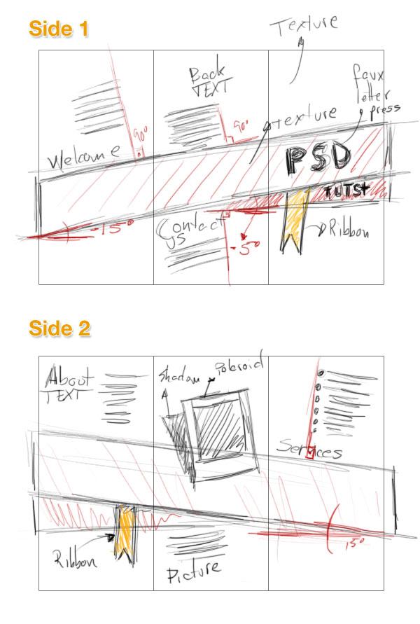 2- اتود زدن با مداد روی کاغذ-آموزش طراحی بروشور سه لتی در فتوشاپ مجله گیچ