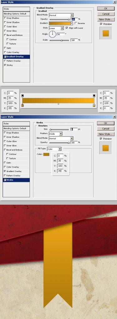 20- لایه های روبان - آموزش طراحی بروشور سه لتی در فتوشاپ مجله گیچ