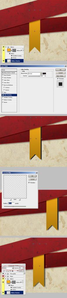 21- تنظیم سایه روبان - آموزش طراحی بروشور سه لتی در فتوشاپ مجله گیچ