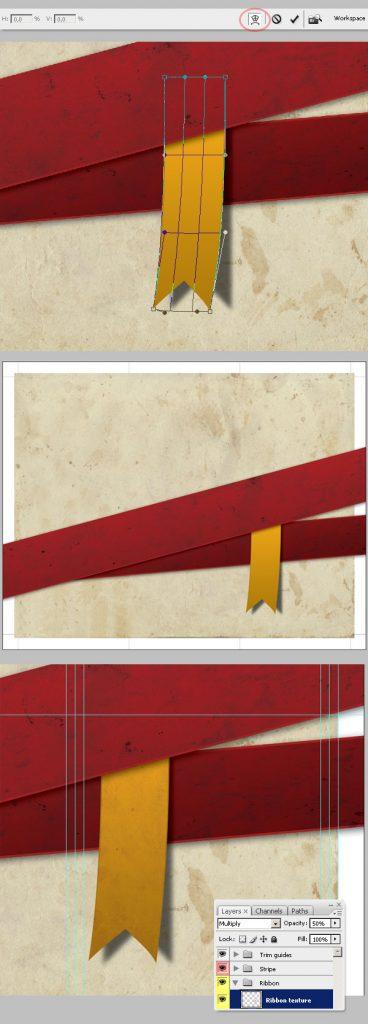 22- تکمیل طراحی روبان - آموزش طراحی بروشور سه لتی در فتوشاپ مجله گیچ