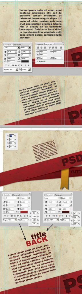 26- افزودن متن و محتوای بروشور -آموزش طراحی بروشور سه لتی در فتوشاپ مجله گیچ