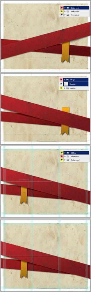 29- چرخش نوارها - آموزش طراحی بروشور سه لتی در فتوشاپ مجله گیچ