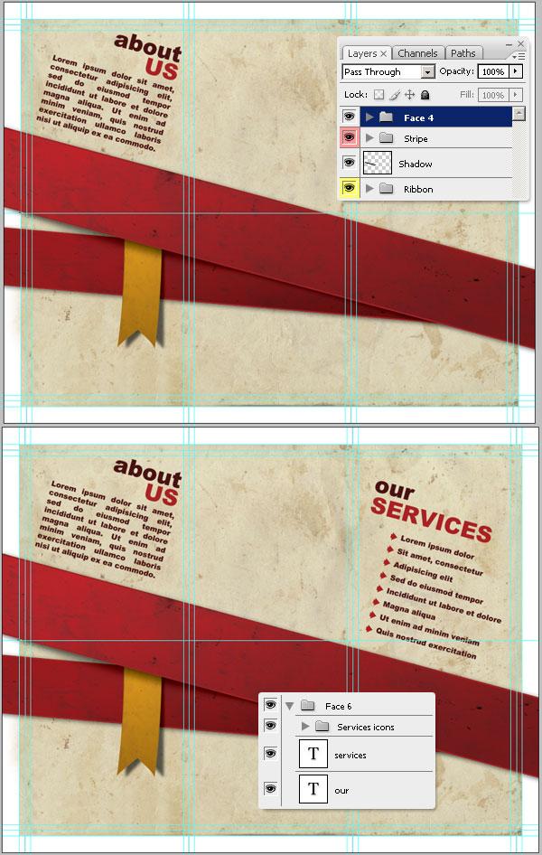 30- افزودن متن بیشتر - آموزش طراحی بروشور سه لتی در فتوشاپ مجله گیچ