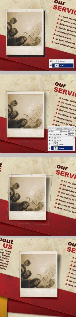 33- ایجاد سایه - آموزش طراحی بروشور سه لتی در فتوشاپ مجله گیچ