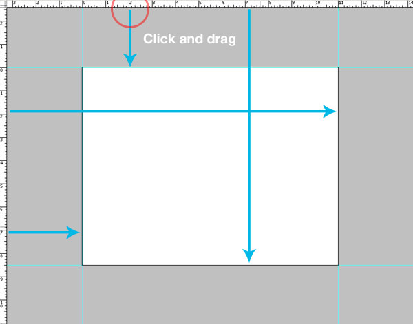 4- خط راهنما - آموزش طراحی بروشور سه لتی در فتوشاپ مجله گیچ